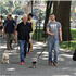Bill Clinton has father-son bonding time with pregnant Chelsea's husband Marc as they walk their dogs in New York City
